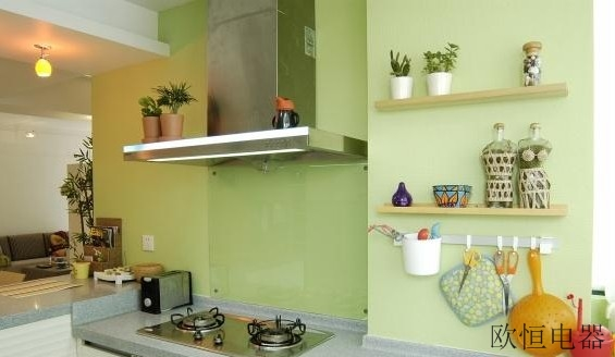 绿色厨房装修效果图,绿色控必看